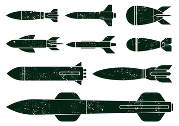 Free World War Missile Vectors - Free vector #369355