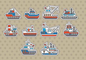 Tugboat Vectors - vector gratuit #369755