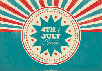 Retro Sunburst Style 4th of July Sale Illustration - Free vector #369925