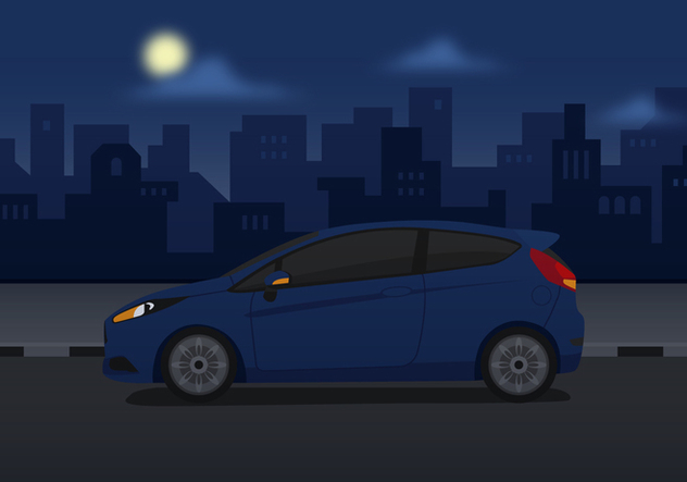 Vector Ford Fiesta Blue - vector gratuit #370205