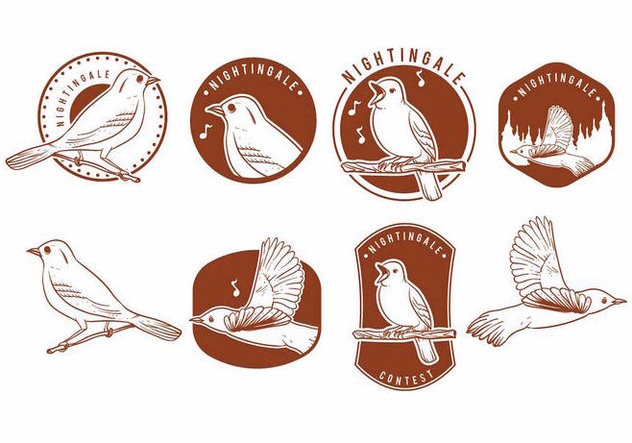 Nightingale Badges Set - Free vector #370325