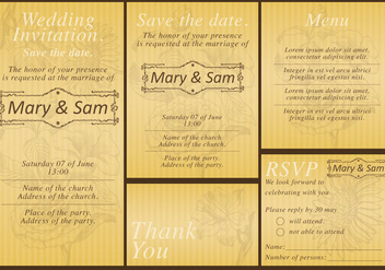 Gold Wedding Templates - бесплатный vector #370335