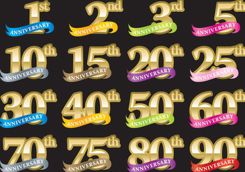 Anniversary Numbers With Ribbons - Kostenloses vector #370345