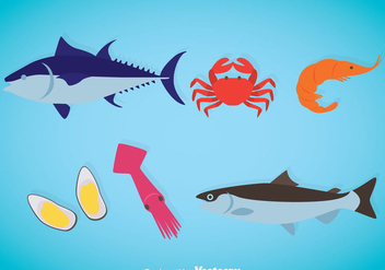 Seafood Flat Icons Vector - Free vector #370365