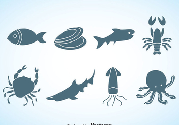 Seafood Silhouette Vector - Free vector #370415