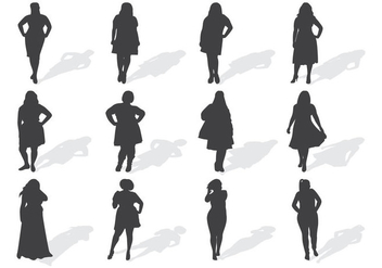 Fat Women Silhouettes Vector - Free vector #370465