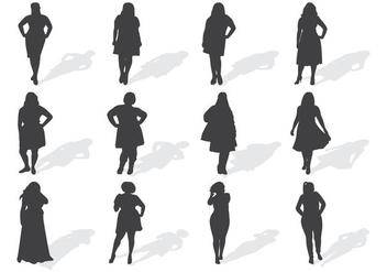 Fat Women Silhouettes Vector - Kostenloses vector #370465