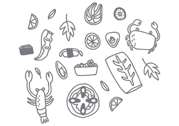 Free Style Seafood Drawing Vector - бесплатный vector #370615