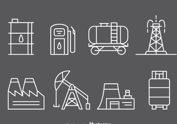 Oil Industry Line Icons - vector #371145 gratis