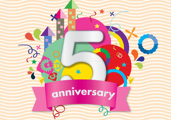 Colorful Anniversary Card - vector gratuit #371345