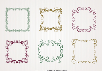 Floral swirl frame set - Kostenloses vector #371445