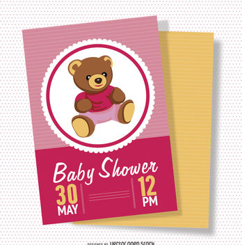 Girl baby shower card - vector gratuit #372345