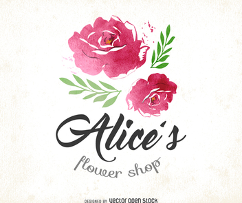 Watercolor flower shop logo - vector #372535 gratis