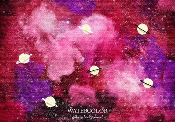 Free Vector Red Watercolor Galaxy Background - Free vector #372615