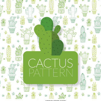 Cactus outline illustration pattern - vector gratuit #372795
