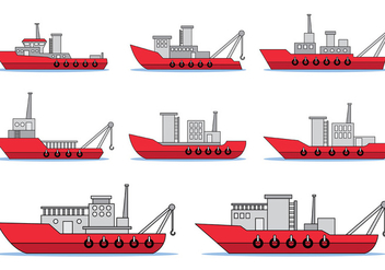 Set Of Tugboat Vector - Free vector #372895