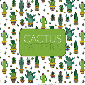 Illustrated cactus pattern - Free vector #373075