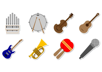 Free Music Instrument Icon Vector - vector gratuit #373155