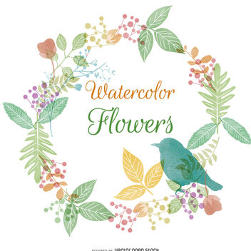 Watercolor flower and nature frame - Free vector #373175
