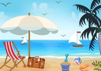 Beach Theme Vector - Free vector #373945