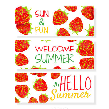 Strawberry summer banner set - vector gratuit #374005