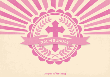 Retro Style Palm Sunday Illustration - Free vector #374225