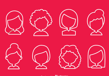Woman Simple Hair Style Icons - Free vector #374975