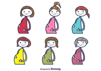 Pregnant Moms Vector - Free vector #375455