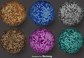 Colorful Vector Spheres With Mosaic Textures - Free vector #375705