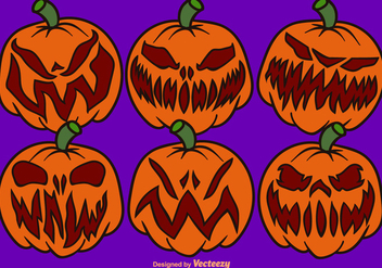 Vector Cartoon Pumpkin Set - vector gratuit #376145