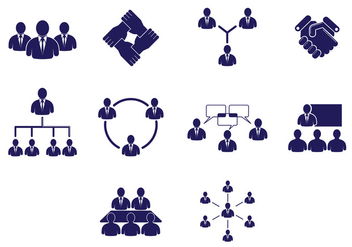 Set Of Working Together Icons - Free vector #376495