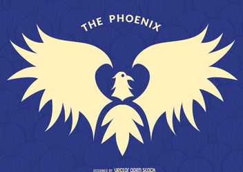Phoenix bird label - Free vector #376725
