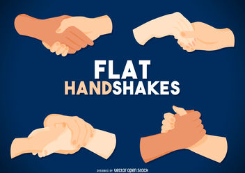 Flat handshake drawing set - Free vector #376775