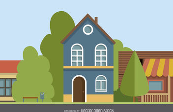Two story house drawing - vector gratuit #377085