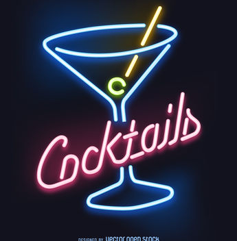 Cocktails neon sign - Free vector #377205