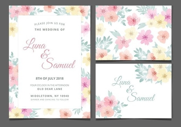 Vector Watercolor Flower Wedding Invite - бесплатный vector #377915