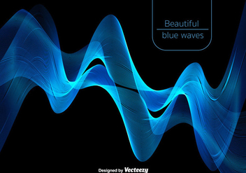 Abstract Beautiful Blue Waves - Vector - Kostenloses vector #378255