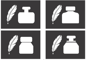 Ink Pots and Quill Icons - Free vector #378315