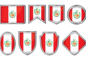 Peru Flag Badge Vectors - Kostenloses vector #378385