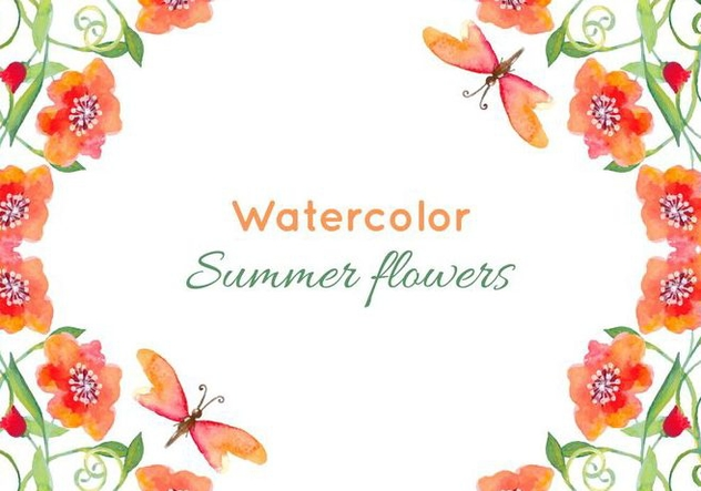 Free Vector Watercolor Poppies Background - Free vector #379045