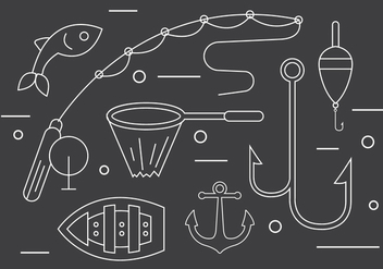 Vector Set of Fishing Tools - vector gratuit #379245
