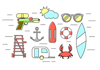 Vector Set of Summer Icons - Kostenloses vector #379345
