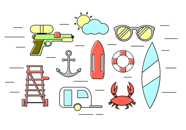 Vector Set of Summer Icons - Free vector #379345