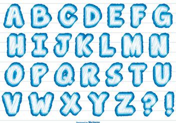 Cute Scribble Style Alphabet - vector gratuit #379385