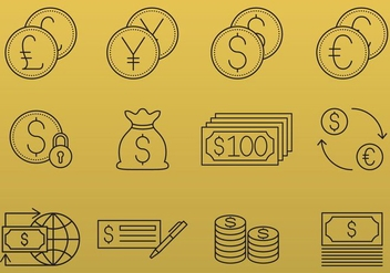 Money And Currency Icons - Free vector #379565