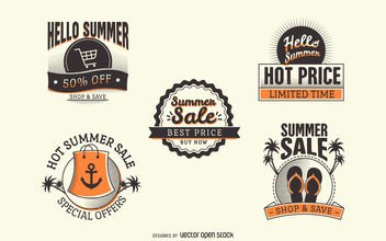 Summer sale label badge set - vector gratuit #379885