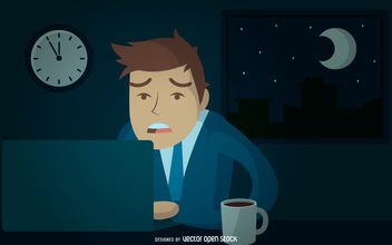 Businessman working late illustration - Free vector #380015