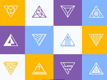 Hipster triangular logo set - vector gratuit(e) #380025