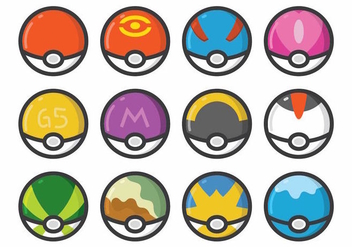 Pokemon Poke Ball Set - бесплатный vector #380245