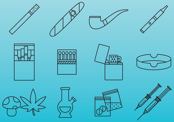 Drugs And Addiction Icons - vector #380285 gratis